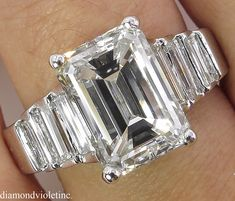 Large 5.82ct Estate Vintage Emerald Cut Diamond Engagement Wedding 18k White Gold Ring by DiamondViolet on Etsy https://www.etsy.com/uk/listing/501488212/large-582ct-estate-vintage-emerald-cut