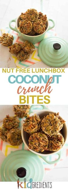 These coconut crunch bites are gluten free, nut free, are easily made dairy free and are perfect as a crunch element for the lunchbox! A fantastic healthy snack. #kidsfood #glutenfree #nutfree #lunchbox #snacks #crunchy #healthykids #kidslunchbox via @kidgredients