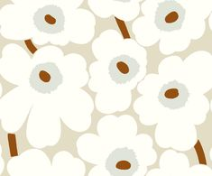 Unikko by Marimekko - Cream - Wallpaper : Wallpaper Direct Cream Wallpaper, Print Wallpaper, Iphone Wallpaper, Marimekko Wallpaper, Kawaii Wallpaper, Fabric Design, Print Design, Design Repeats, Textile Patterns