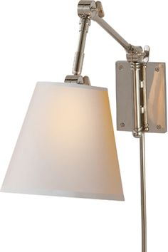 """GRAVES PIVOTING SCONCE  $420 Height: 16 1/2"""" Width: 8"""" Extension: 15 1/2"""" Backplate: 4"""" x 5 1/2"""" Shade: 4 1/2"""" x 8"""" x 71/2"""""""