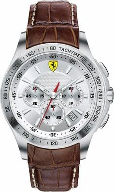 Ferrari Scuderia Chronograph Silver Dial Brown Leather Mens Watch 830044 #FerrariScuderiaChronographSilverDialBrownLea #LuxuryDressStyles