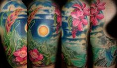 Landscape tattoos are designed in several different ways. Landscape tattoo designs include dozens of different elements and symbols. When it comes to capturing the true beauty of nature, landscape tattoos are a great way to do so. Hawaiianisches Tattoo, Type Tattoo, Color Tattoo, Tropical Flower Tattoos, Scenic Tattoo, Worlds Best Tattoos, Landscape Tattoo, Bild Tattoos, Hawaiian Tattoo