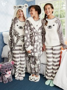 Find the latest in colorful and comfy sleepwear sets for girls at Justice! Shop cute pajamas in tons of fun prints and designs to match her individual style with our collection of sleepwear tops, bottoms, onesies and more. Cute Sleepwear, Girls Sleepwear, Sleepwear & Loungewear, Nightwear, Cute Pijamas, Pijamas Women, Fashion Kids, Pyjamas, Kids Fashion