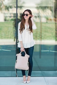 simple outfits are best! love this white peplum blouse with skinny jeans and nude heels. cute dressed up casual outfit for spring!