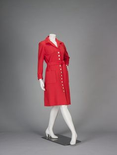 Late 1960s, America - Dress by Norman Norell - Wool, plastic buttons