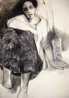 "Saatchi Online Artist: Fotini Hamidieli; Charcoal, 2013, Drawing ""sitting figure"""