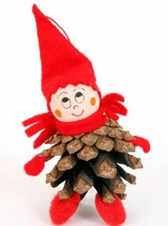 how to make a pine cone tomte Pine Cone Christmas Decorations, Christmas Crafts For Kids, Fall Crafts, Holiday Crafts, Diy And Crafts, Pine Cone Art, Pine Cone Crafts, Pine Cones, Handmade Ornaments
