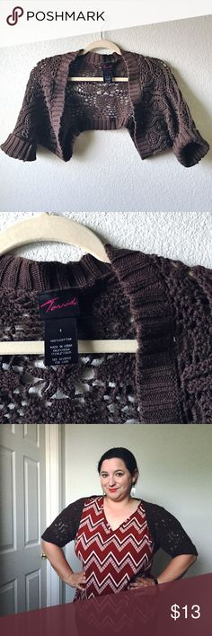 Torrid Crochet Shrug Torrid crocheted shrug with ribbed sleeves you can roll up once. Perfect lightweight shrug for spring!  100% cotton. EUC. torrid Sweaters Shrugs & Ponchos