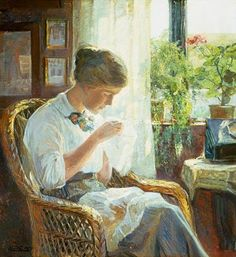 Young Woman Sewing at the Window . CHARLES LARSSON ..... 5/28/1853 - 1/22/1919 .... Larsson was a Swedish painter and interior designer, representative of the Arts and Crafts Movement ... His many paintings include oil, watercolors, and frescoes ... He considered his finest work to be Midvinterblot (Midwinter Sacrifice), a large wall mural now displayed inside the Swedish National Museum of Fine Arts .... Wikipedia