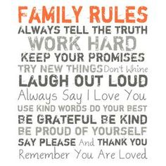 Family Rules Canvas Giclee Print in Orange