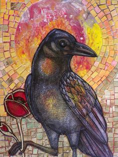 """Glorious!! Crow looks like s/he is part of a Stained Glass Window!! """"Red Poppy and Crow"""" by Lynnette Shelley"""