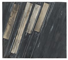 Cy Twombly (1928-2011, USA) - Untitled, 1973,  Works on Paper (drawings, watercolors, etc), 132x150 cm, Collage: paper, transparent adhesive film, staples, oil, charcoal and oil crayon on paper (Fabriano) verso