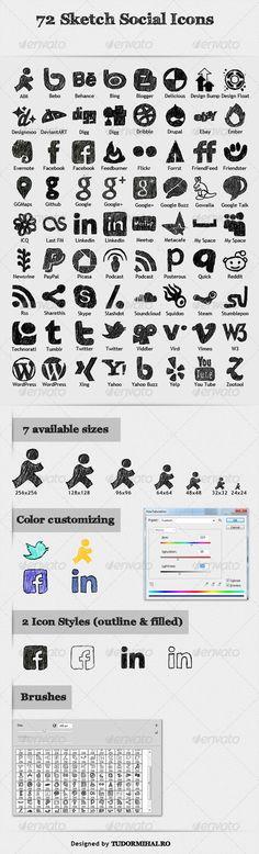 72 Sketch Social Icons ( http://graphicriver.net/item/72-sketch-social-icons-/1035027 )