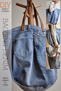 Hobo bag slouchy purse handbag recycled upcycled jeans by BukiBuki Amo Jeans, Love Jeans, Denim Tote Bags, Diy Tote Bag, Mochila Jeans, Denim Ideas, Denim Crafts, Creation Couture, Recycled Denim