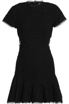 ZIMMERMANN WOMAN LATTICE-PANELED BRODERIE ANGLAISE COTTON MINI DRESS BLACK. #zimmermann #cloth #