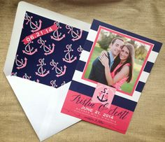 #Nautical save the date with a custom #wedding #monogram and #anchor envelope liner I Custom by Nico and Lala