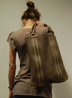 Dove Colour Beige Leather Tote Bag Studded Handbag.  HomemadeBags $185