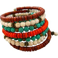 Boho Turquoise Stacked Bracelet  Seven gorgeous wraps of turquoise, orange, browns and creams Magnesite, howlite and antique bronze findings make up this lovely bracelet. The beads are threaded on stainless steel memory wire that fits any wrist size, just wrap it around, so easy And no clasps to mess with! This is a great casual bracelet you can wear just about anywhere.