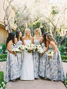 May 2019 - A Laguna Beach winter wedding on the beach. See how this bride styled a winter wedding with white florals, string lights and modern elements. Read the post. Blue Bridesmaid Dresses Short, Patterned Bridesmaid Dresses, Blue Bridesmaids, Wedding Bridesmaids, Wedding Dresses, Bridesmaid Gowns, Bridesmaid Color, Wedding Outfits, Women's Dresses