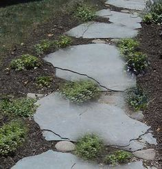 A natural stone walkway can be casual