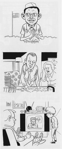 Daniel Clowes. The eyes on his characters almost look bug like with how intense they are, also kind of a dead gaze...eerie but funny