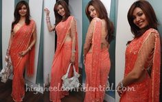 Stunning peach colour Sari - Check blouse sleeves - Karishma Tanna