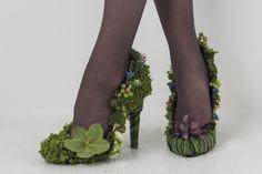 Botanical shoes - pumps with leaves, moss, helleborus, fritillarias, grape hyacinths etc. ~ Françoise Weeks