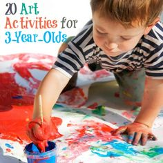 20 Easy Art Activities For Your Three-Year-Old..... from Tin Foil Art or Bubble Prints to Rain Painting or Crushed Chalk Art!