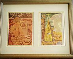 Mucha vintage postcard and Dali vintage book plate :)