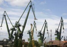 Cranes in Gdansk shipyard Poland Travel, Crane, Utility Pole, Travel Guide, History, History Books, Historia
