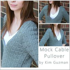 Mock cable pullover...This looks knit;but there's a free crochet pattern for making this beautiful sweater!!