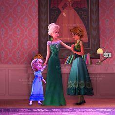 """Winter: """"mama ven quiero mostrarte algo"""" Elsa: """"hija estoy hablando con Rapunzel"""" *Winter comienza a tirar de su brazo*"""