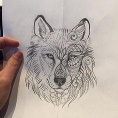 Starting this in an hour. #blackbirdtattoo #tattoo #wolf #grapfic #prulwerk