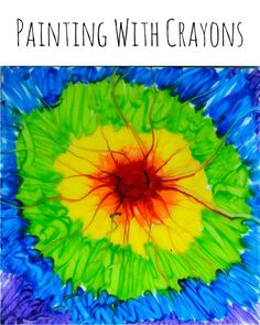 Painting with crayons art project for kids.
