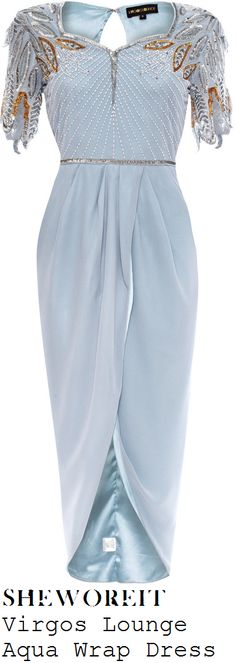 Virgos Lounge Aqua Pale Blue Embellished Wrap Front Short Sleeve Dipped Hem dress
