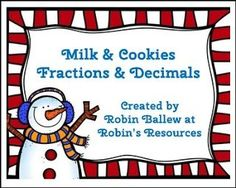 "FREE MATH LESSON - ""Fraction and Decimal Match *FREE* Milk and Cookies Theme"" - Go to The Best of Teacher Entrepreneurs for this and hundreds of free lessons. 4th - 5th Grade    http://www.thebestofteacherentrepreneurs.com/2016/12/free-math-lesson-fraction-and-decimal.html"