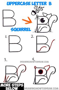 How to Draw a Cartoon Squirrel from an Uppercase Letter B Easy Step by Step Drawing Lesson for Children