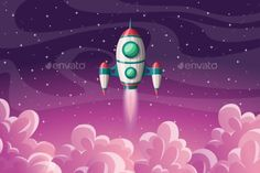 Buy Rocket Space Launch by GabiWolf on GraphicRiver. Rocket launch with clouds and stars, vector illustration Plane Vector, Cake Background, Space Launch, Retro Rocket, Rocket Launch, Logo Food, Logo Ideas, Product Launch, Clouds