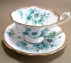 Vintage ROYAL ALBERT Bone China Cup & Saucer Marguerite Blue Daisy Brushed Gold #RoyalAlbert