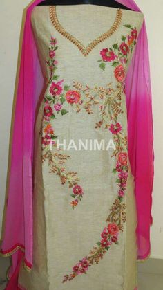 Embroidery Suits Design, Embroidery Dress, Hand Embroidery, Embroidery Designs, Punjabi Suit Boutique, Boutique Suits, Sleeve Designs, Blouse Designs, Desi Wedding Dresses