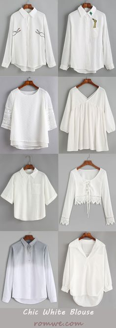 Pure White Blouse from romwe.com