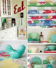 Meadowbrook Farm vintage kitchen collage 1  Vintage accessories and reproductions from the 30-50s add cherry accents to a remodeled kitchen with 40s flair.