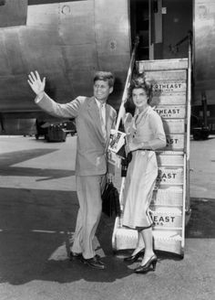 JFK and Jackie at LaGuardia Airport in New York City on June 26, 1953.