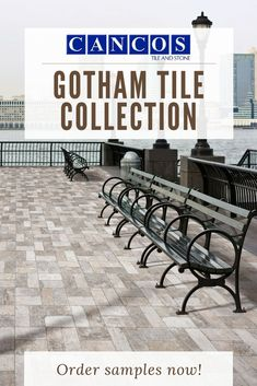 Cancos Tile & Stone present their Gotham tile collection. This tile is great for the outdoor spaces- especially in a commercial application. The rustic and natural vibe makes it easy to style with Outdoor Tiles, Outdoor Spaces, Outdoor Decor, Stone Bench, Stone Tiles, Bathroom Fixtures, Porcelain Tile, Gotham