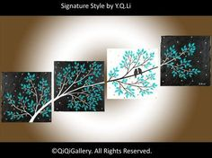 Romantic Painting Abstract Painting Landscape Painting Impasto Painting Palette Knife Love Birds Painting Tree Painting Life Is Beautiful via Etsy