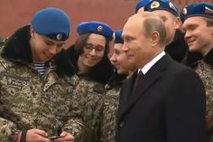 Putin asked for selfie by a cheeky soldier who is surprised by his reaction Weird News, Water Polo, Vladimir Putin, Judo, Donald Trump, Presidents, In This Moment, Selfie, Donald Tramp