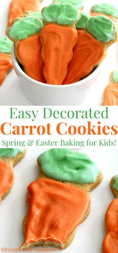 These adorable decorated carrot cookies are a perfect and fun spring or Easter baking treat for the kids to do at home! An easy and simple carrot cake sugar cookie base that's gluten-free and vegan, decorated with naturally dyed dairy-free white chocolate for one delicious and pretty cookie! They are great to gift too! Pork Recipes, Free Recipes, Baking Recipes, Snack Recipes, Snacks, Gluten Free Carrot Cake, Gluten Free Cookies, Holiday Cookie Recipes, Holiday Baking