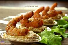 Hummus di borlotti con gamberi piccanti Party Finger Foods, Finger Food Appetizers, Appetizer Recipes, Hummus, Buffet, Cooking Recipes, Healthy Recipes, Cannoli, Antipasto