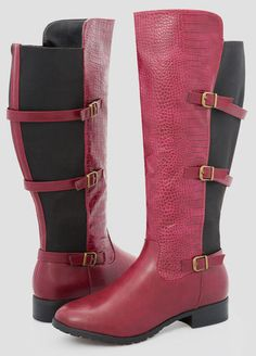3bf3cf2ac8c8 Croc Front Flat Tall Boot - Wide Width Wide Calf Croc Front Flat Tall Boot -