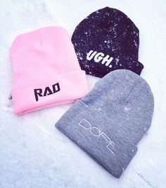 Cute beanies. The 'UGH' one ^-^
